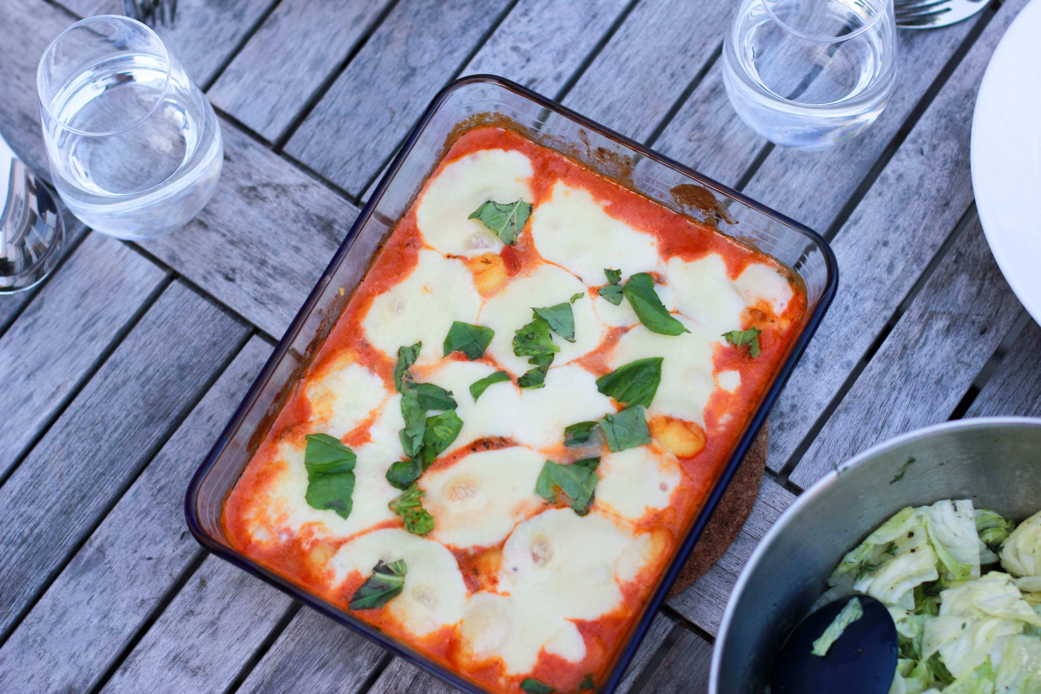 Food: Gnocci in Tomatensauce überbacken mit Mozzarella